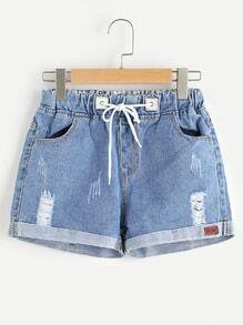 Shorts en jeans avec cordon de taille