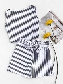 Vertical Striped Open Back Top With Belt Shorts