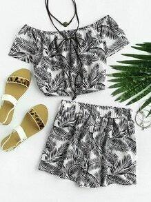 Off Shoulder Leaf Print Random Top And Shorts Set