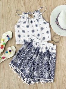 Printed Random Self Tie Back Top With Pom Pom Shorts