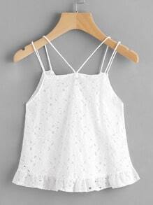 Strappy Detail Frill Hem Lace Cami Top