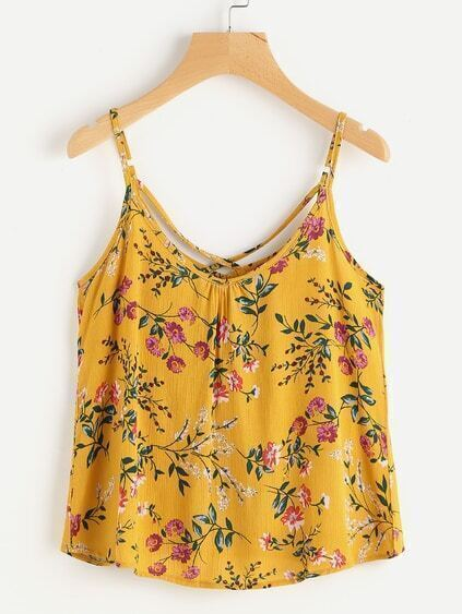 Ditsy Print Random Cross Back Pleated Cami Top