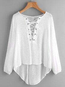 Lace Up High Low Chiffon Cover Up