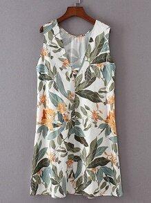 V-Neckline Leaves Print Sleeveless Dress