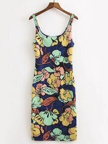 Scoop Neck Flower Print Tank Dress