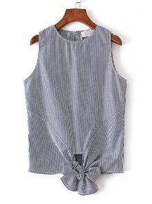 Vertical Striped Knot Front Sleeveless Top