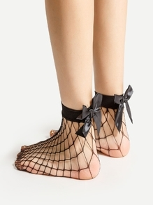 Chaussettes à cheville à maille avec nœuds papillon