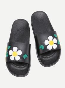 PU flache Sandalen mit Blumen