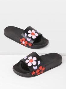 Sandales à fond plat en PU à fleurs