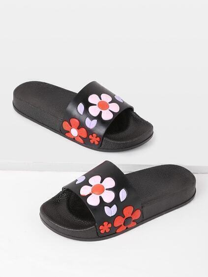 Flower Design PU Flat Slides
