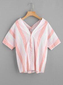 Bluse mit V-Ausschnitt und breitem Streifen