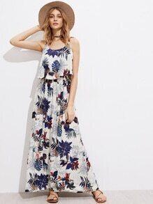 Palm Leaf Layered Full Length Cami Dress