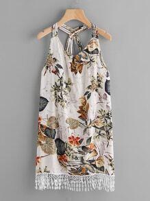 Palm Leaf Lace Hem Strappy Detail Dress