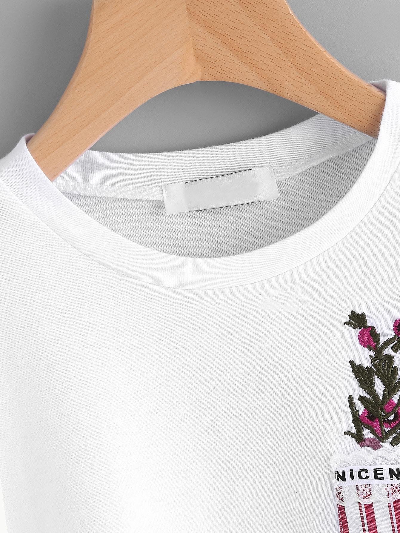 Tee shirt brod des plantes avec des poches poitrine for Acheter des plantes par internet