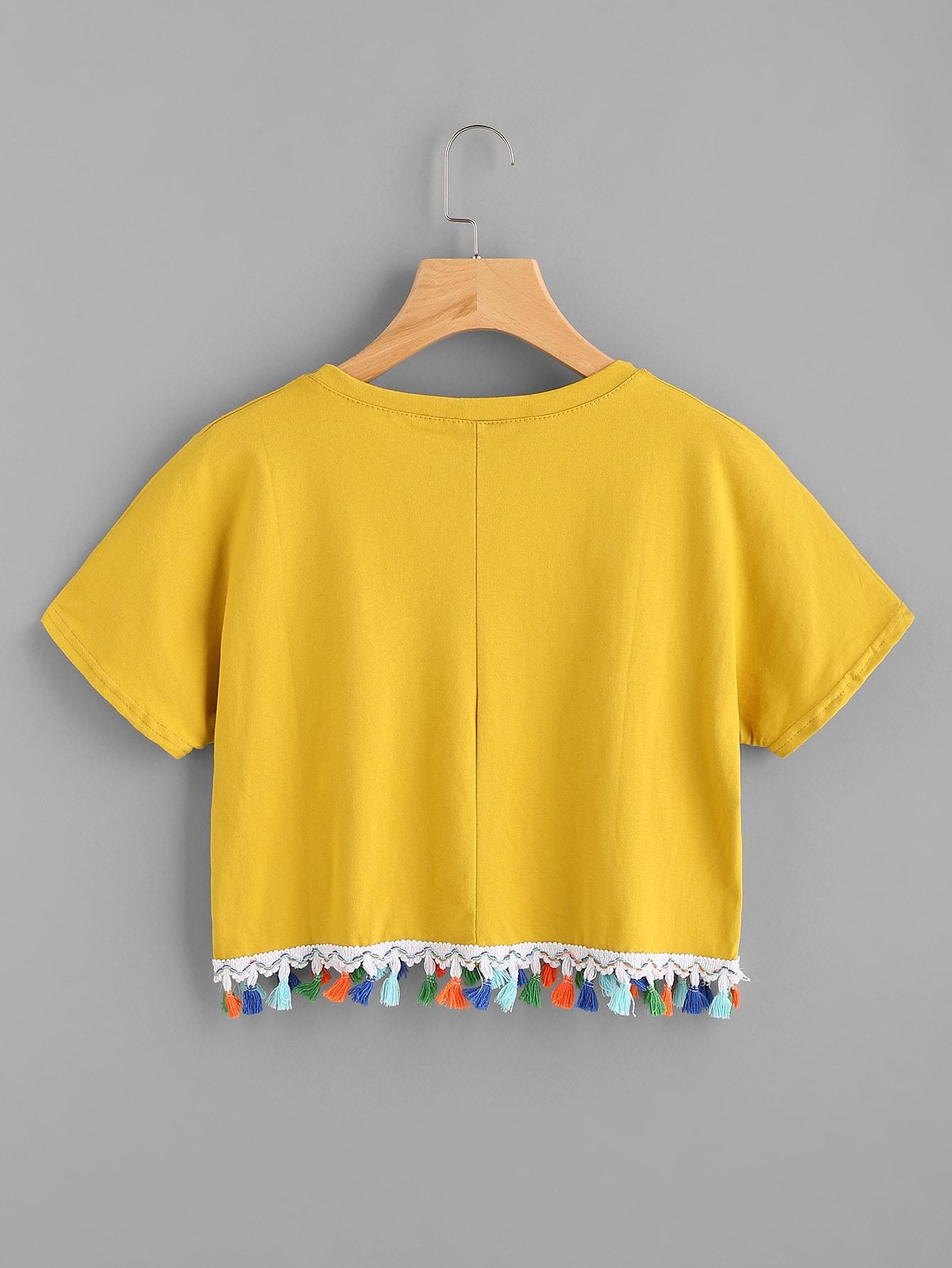 tee shirt contrast avec des franges french romwe. Black Bedroom Furniture Sets. Home Design Ideas