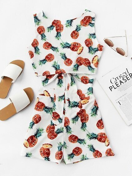 Pineapple Print V Back Self Tie Tank Top And Shorts Set