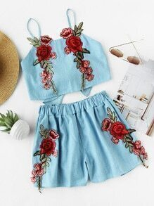 Rose Applique Bow Tie Back Crop Cami Top With Shorts