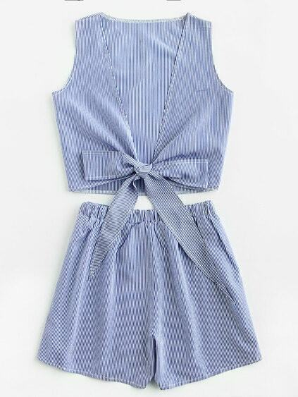 Pinstripe V Back Bow Tie Top And Shorts Set