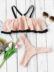 Contrast Strap And Trim Cold Shoulder Flounce Bikini Set