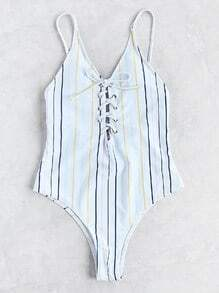 Striped Lace Up Cami Swimsuit