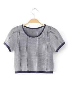 Top contrasté en tricot