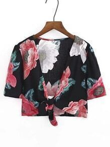 Flower Print Knot Front Crop Top