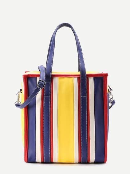 Tote de pu en color block con correa convertible