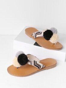 Flipflops Sandalen mit Pompon-Dekoration und Flatform