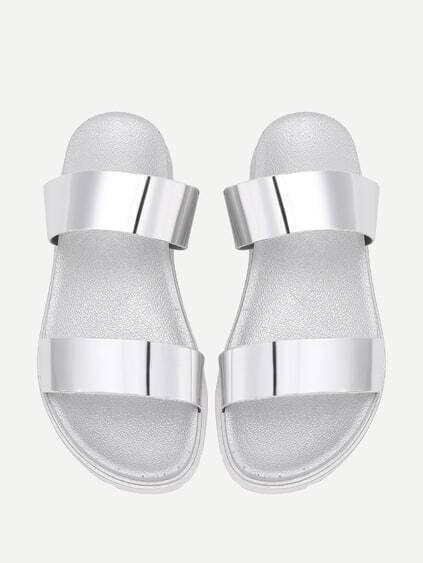 Metallic Strappy Slides