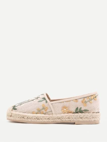 Flower Embroidery Cap Toe Espadrille Flats