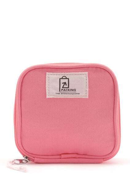 Patch Detail Makeup Cube Pouch
