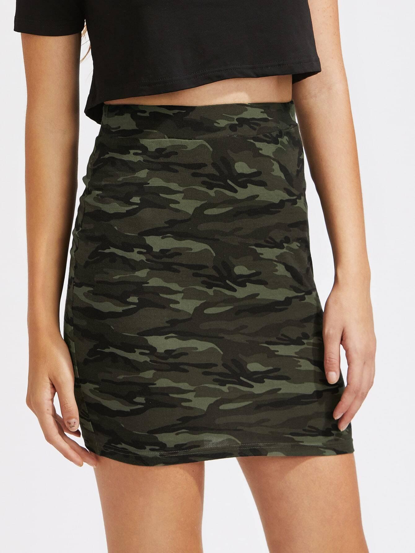 Camo Print Elastic Waist Bodycon Skirt