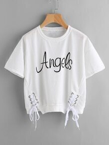 Letter Print Metal Eyelet Lace Up Tee