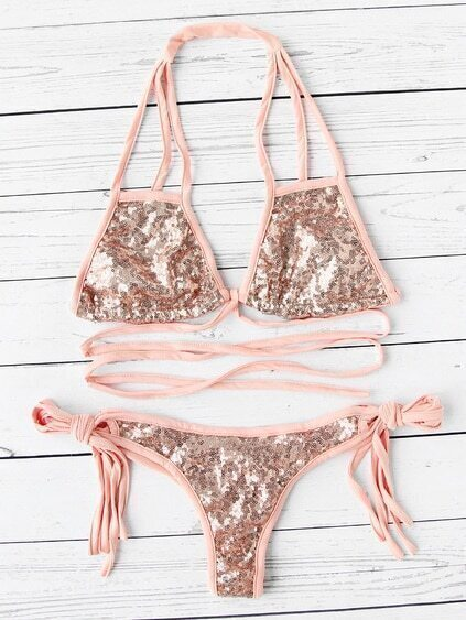 Side Tie Strappy Sequin Bikini Set