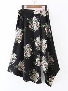 Floral Print Asymmetrical Skirt