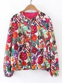 Flower Print Zipper Up Jacket