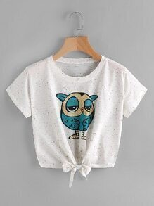 Owl Print Knot Front Tee