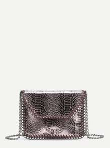 Snakeskin Print Clutch Bag With Chain