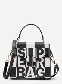 Two Tone PU Grab Tote Bag