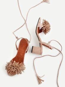 Fringe Decorated Lace Up Block Heeled Sandals