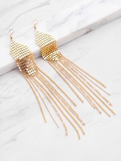 Sequin Decorated Tassel Shaped Earrings
