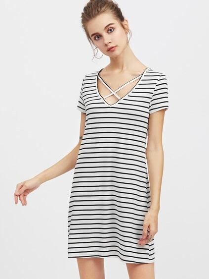 Crisscross V Neck Striped Tee Dress