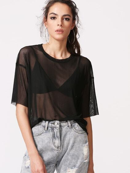 Drop Shoulder Boxy Sheer Mesh Top
