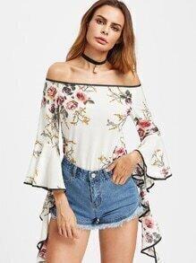Bluse mit Flare Hülse und Blumenmuster