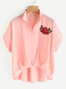 Rose Embroidered Dip Hem Shirt