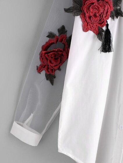 Romwe / Appliques Tassel Detail Shirt With Sheer Mesh Panel