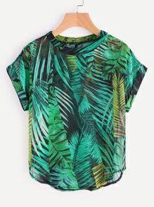 Chiffon Bluse mit Palmblattmuster, Knöpfen und Schlussloch hinten