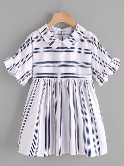 Peter Pan Collar Frill Cuff Smock Blouse
