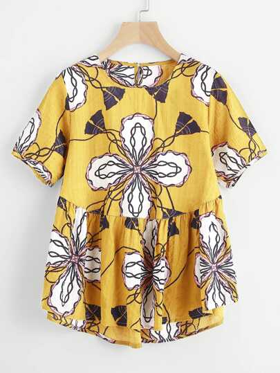 All Over Graphic Print Smock Blouse