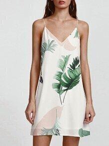 robe imprimée tropicale avec double col V - blanc